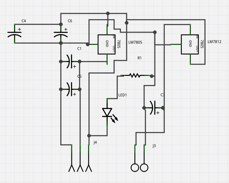 12 and 5 volt dc power supply circuit board